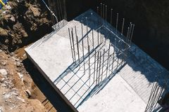 Concrete slab with steel reinforcement bars Royalty Free Stock Photography