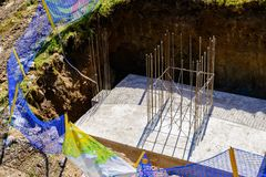 Concrete slab with steel reinforcement bars -view from above Royalty Free Stock Photo