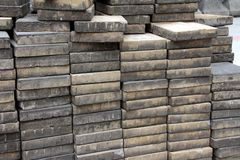 Concrete slabs. Stacks of concrete slabs at a construction site Stock Images