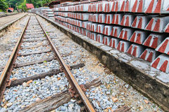 A concrete sleeper for railroad tie royalty free stock photography