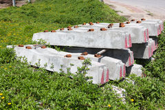 Concrete sleepers for railway construction Royalty Free Stock Photography