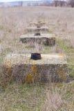Concrete squares on wasteland. Royalty Free Stock Photo