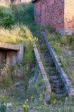 Concrete stair to a bunker. Detail of a structure of the Atlantic Wall Stock Photo