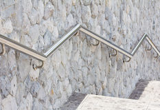 Concrete staircase with metal hand rail Royalty Free Stock Image