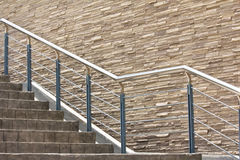 Concrete staircase with metal hand rail Stock Photos