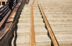 Concrete staircase with a ramp Stock Photo