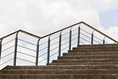 Concrete Staircase With Metal Hand Rail Stock Photo