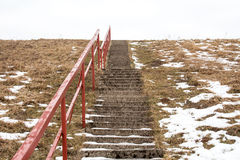 Concrete  stairs in cold day Stock Photo