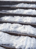 Stairs under snow. Concrete stairs covered with snow, outdoor Stock Photos