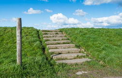 Concrete stairs at a grassy embankment Royalty Free Stock Photography