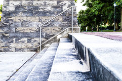 Concrete stairs from low perspective in a park. A concrete stairs from low perspective in a park Stock Photos