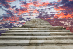 Concrete stairs and rich andcolorful  sky Royalty Free Stock Images