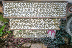 Concrete stairs and stone rocks. At home garden Royalty Free Stock Images