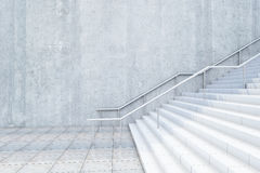 Concrete stairway side. Side view of concrete stairway with blank wall. Mock up, 3D Rendering Royalty Free Stock Photography