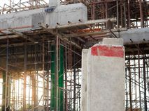 Concrete stapel op een bouwgebied stock foto's