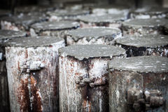 Concrete in steel cylinder formwork for testing Royalty Free Stock Images