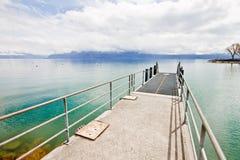 Concrete-steel pier at Lake Geneva Royalty Free Stock Photos