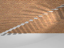 Concrete steps are on a brick wall. Stock Images