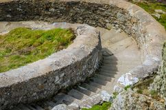 Concrete Steps leading down to the lighthouse at South Stack, near Holyhead, Anglesey, Wales stock photo