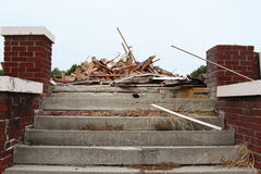 Concrete Steps Leading To Piles Of Demolition Debris Stock Photos