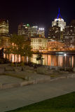 Concrete Steps near Downtown. Scenic view of Pittsburgh from a park Stock Images