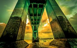 Concrete stichting van brug Stock Foto