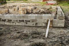 Concrete stichting van nieuw huis Stock Foto's