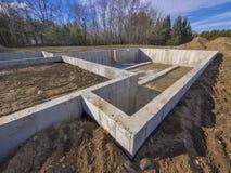 Concrete stichting voor een nieuw huis Royalty-vrije Stock Foto's