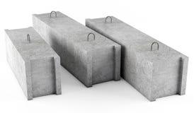 Concrete stichtingsblokken op witte achtergrond Stock Foto