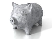 Concrete stone piggy money bank on white background Stock Photos