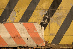 Concrete Striped Barricade alongside a well used New York City H Stock Images