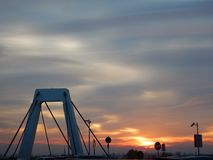 Concrete structure of a bridge in sunset. A concrete structure of a bridge in sunset Royalty Free Stock Photography