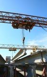 The concrete structure raise the crane Royalty Free Stock Photos
