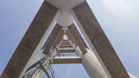 Concrete structures and metal ladder up to the top.  Royalty Free Stock Image