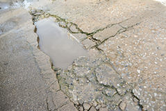 Concrete surface, on of the road were demolished due to poor con Royalty Free Stock Photography