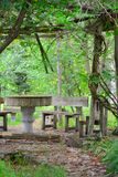 Concrete table and concrete benches in nature.  royalty free stock photography