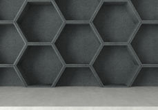 Concrete table and  hexagons shelf background, 3D rendering Royalty Free Stock Image