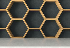 Concrete table with wooden hexagons shelf background, 3D rendering royalty free illustration