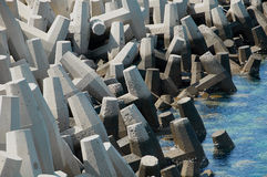 Concrete tetrapods used for coastal protection Royalty Free Stock Photo