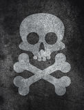 Concrete texture with skull. Dark concrete floor texture background with skull and bones Stock Images