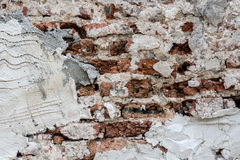 Concrete textuur met oude baksteen Stock Afbeeldingen
