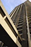 Concrete tower block. Low angle view of modern tower block on housing estate Royalty Free Stock Image