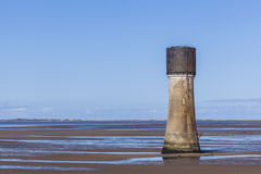Concrete tower construction on Spurn Point Beach UK Royalty Free Stock Photography