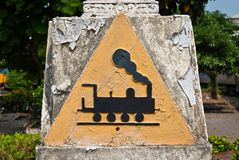 Concrete triangular train symbol Stock Image
