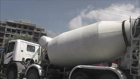 Concrete truck turns stock footage