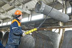 Concrete tube production Stock Images