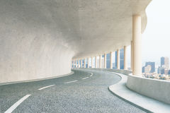 Concrete tunnel with city view Stock Image