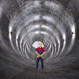 Concrete tunnel and man Stock Photography