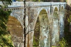 Arch, concrete, wood, bridge, support, viaduct, concrete. Concrete viaduct in the woods abutment of the bridge rail Royalty Free Stock Photography