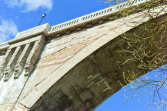 Arch, concrete, wood, bridge, support, viaduct, concrete. Concrete viaduct in the woods abutment of the bridge rail Royalty Free Stock Image